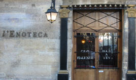 Front of the Enoteca restaurant in the Saint Paul Village in the heart of Le Marais in Paris