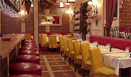 Warm interior of the Spicy restaurant - A touch of Provence close to Champs Elysees Avenue
